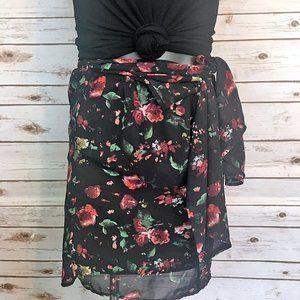 Tobi Floral Faux Wrap Skirt - Size M